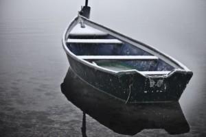 barque sous la neige